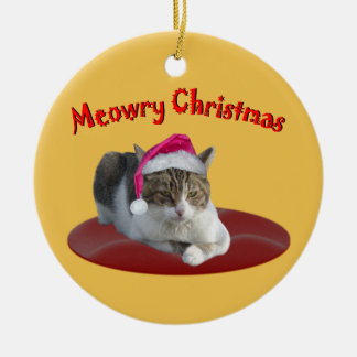 Meowry Christmas Cat  Wearing a Santa Hat Double-Sided Ceramic Round Christmas Ornament