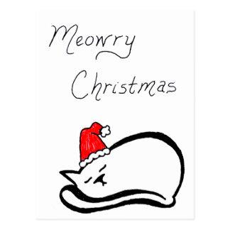 Meowry Christmas Vertical Postcard (customizable)