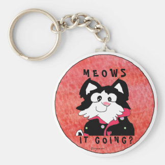 Meows It Going Cartoon Cat Accessories Keychains