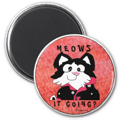 black and white cat cartoon. Meows It Going Cartoon Cat