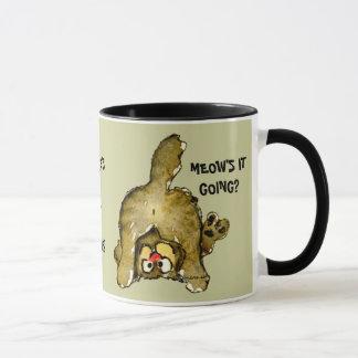 Meows it Going? Cartoon Cat Mug