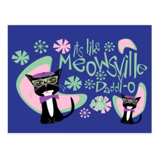 Meowsville Daddy-O Beatnik Kitty 2 Postcard