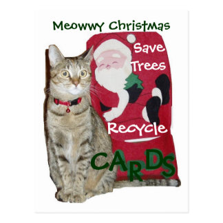 Meowwy Christmas Recycle Postcard