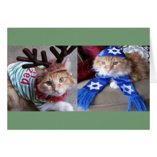 Meowy Catmas and Happy Paw-nukkah! Card