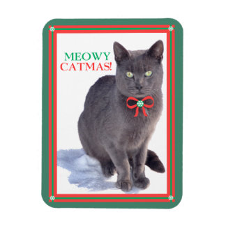 """Meowy Catmas"" Holiday Photo Magnet"