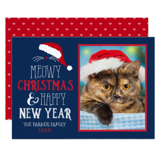 Meowy Christmas and Happy New Year Photo Flat Card