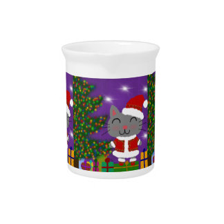 Meowy Christmas Beverage Pitcher