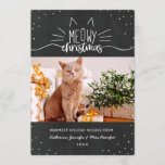 """Meowy Christmas - Cat Christmas Photo Holiday Card<br><div class=""""desc"""">Charming black and white Christmas card with Meowy Christmas written in white hand-lettered fonts,  decorated with ears and whiskers. Add a photo of your cat,  along with your names and the year. The back features black dots against a snow white background.</div>"""