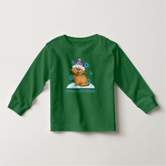 Meowy Christmas Cat Holiday Long Sleeve Toddler Toddler T-shirt