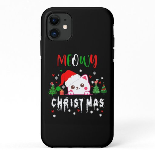 Meowy Christmas Cat Lover merry christmas kitten  iPhone 11 Case