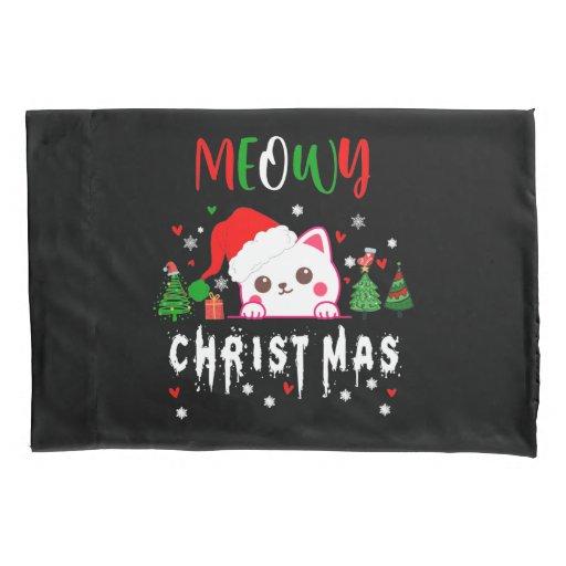 Meowy Christmas Cat Lover merry christmas kitten  Pillow Case