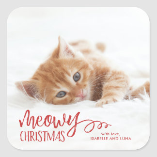 Meowy Christmas Cat Pet Holiday Sticker