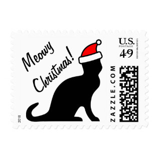 Meowy Christmas Cat Postage Stamps at Zazzle