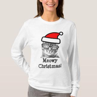 Meowy Christmas cat t shirt | Cute Santa kitty