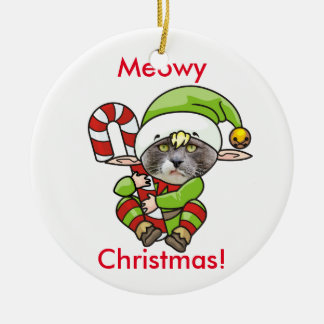 Meowy Christmas! Cat (Your Image) Ceramic Ornament