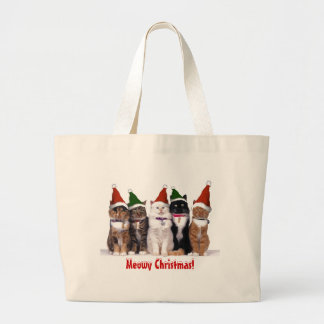 Meowy Christmas Cats Canvas Bags