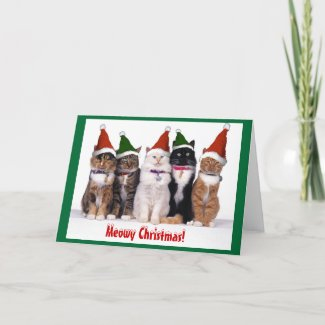 """""""Meowy Christmas!"""" Cats Greeting Card"""