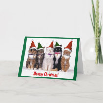 """Meowy Christmas!"" Cats Holiday Card"