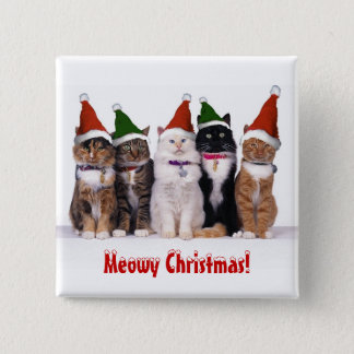 """Meowy Christmas!"" Cats In Hats Button"
