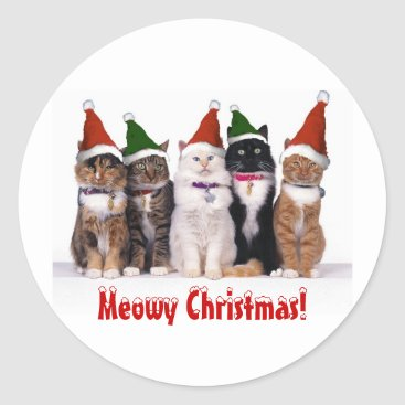"Christmas Themed ""Meowy Christmas!"" Cats In Hats Classic Round Sticker"