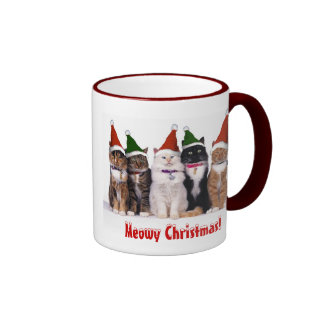 """""""Meowy Christmas!"""" Cats In Hats Mugs"""
