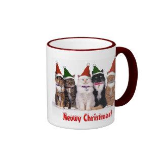 """Meowy Christmas!"" Cats In Hats Ringer Mug"