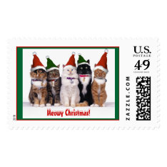 """Meowy Christmas!"" Cats Postage at Zazzle"