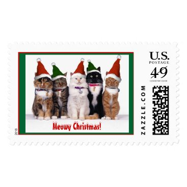 "Christmas Themed ""Meowy Christmas!"" Cats Postage"