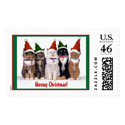"""""""Meowy Christmas!"""" Cats Stamp"""