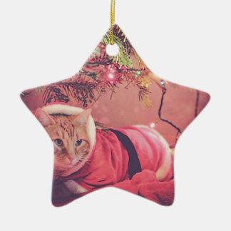 Meowy Christmas Ceramic Ornament