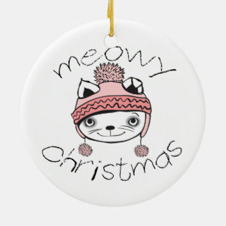 Meowy Christmas Circle Ornament