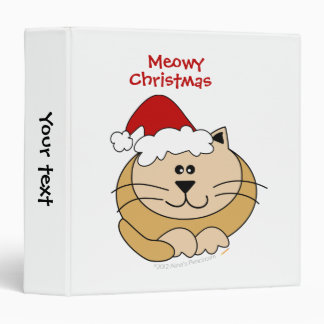 Meowy Christmas Cute Cartoon Cat Custom Binder