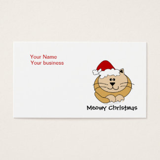 Meowy Christmas Cute Cartoon Cat Custom Business Card