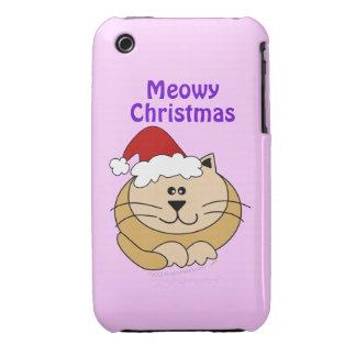 Meowy Christmas Cute Cartoon Cat Custom iphone 3g Case-Mate iPhone 3 Case