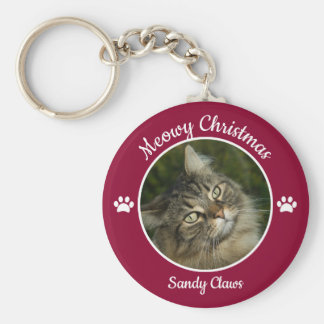 Meowy Christmas Cute Cat Photo with Name Paws Keychain