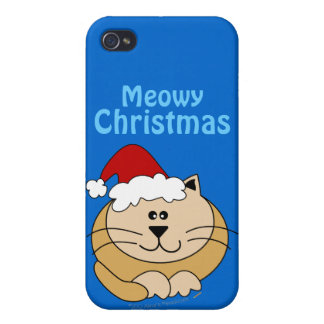 Meowy Christmas Cute Fat Cartoon Cat iphone 4 Covers For iPhone 4