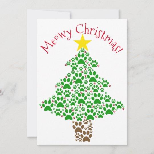 Meowy Christmas.Meowy Christmas Cute Fun Paw Print Tree Photo Holiday Card
