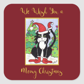 Meowy Christmas Cute Tuxedo Cat in Snow Holiday Square Sticker