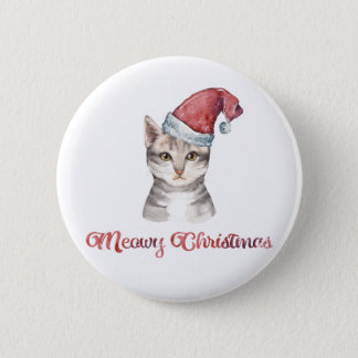 Meowy Christmas Design for Cat Lovers Button