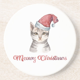 Meowy Christmas Design for Cat Lovers Drink Coaster