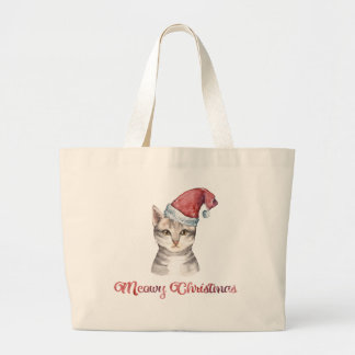 Meowy Christmas Design for Cat Lovers Large Tote Bag