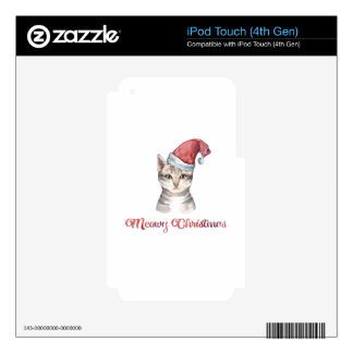 Meowy Christmas Design for Cat Lovers Skin For iPod Touch 4G