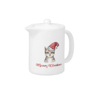Meowy Christmas Design for Cat Lovers Teapot
