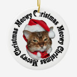 Meowy Christmas Double-Sided Ceramic Round Christmas Ornament