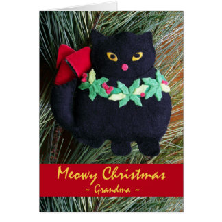 Meowy Christmas for Grandma, Felt Cat Ornament Card