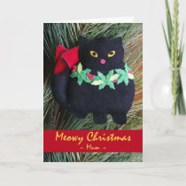 Meowy Christmas for Mum, Cat Ornament Holiday Card