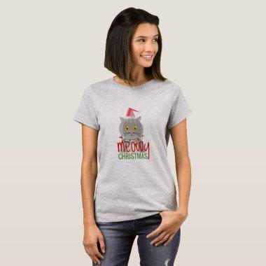 MEOWY Christmas Funny Cat Xmas Gift Decor Add Name T-Shirt
