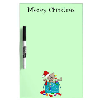Meowy Christmas Funny Crazy Cat Cartoon Xmas Memo Dry-Erase Board