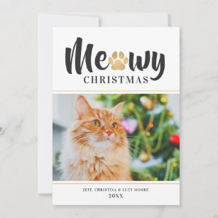 Meowy Christmas Gold Paw Print Pet Photo