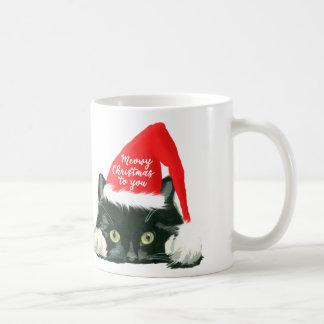 meowy christmas holiday cat mug santa hat